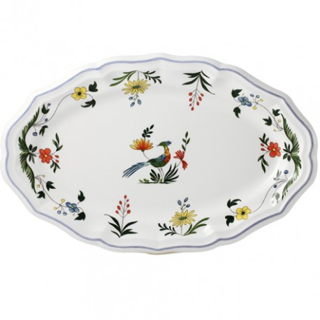 Gien oiseaux de paradis oval platter 6 for Oiseaux artificiels de decoration