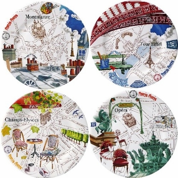 Gien Paris-Paris Assorted Dessert Plates
