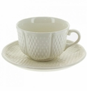 Gien Pont Aux Choux White Breakfast Cup & Saucer