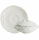 Gien Rocaille White Covered Bouillon Cups & Saucers