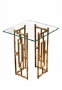 Dessau Home Glass Top Bamboo Float Accent Table Home Decor