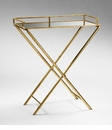 Gold Mirrored Top Bamboo Tray Table by Cyan Design