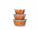 Golden Rabbit Orange Swirl Nesting Bowls