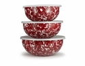 Golden Rabbit Red Swirl Mixing Bowls
