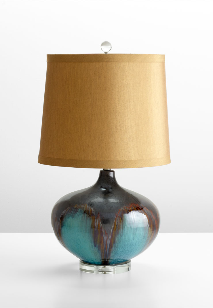 Gough turquoise ceramic table lamp by cyan design for Decoration lamps