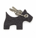 Graf Lantz Felt Key Chain Scottie Dog Charcoal