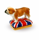 Halcyon Days British Bulldog Bonbonniere Enameled Box