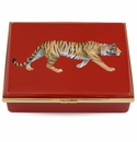 Halcyon Days Magnificent Wildlife Tiger - Red Enameled Box