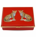 Halcyon Days Magnificent Wildlife Twin Leopards - Red Enameled Box