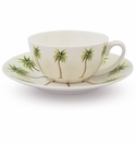 Halcyon Days Palm White Cup & Saucer