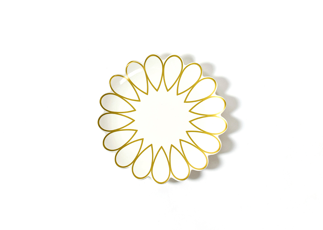 happy everything 11 scallop edge plate gold