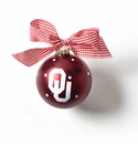 Happy Everything Glass Ornament - U of Oklahoma Logo