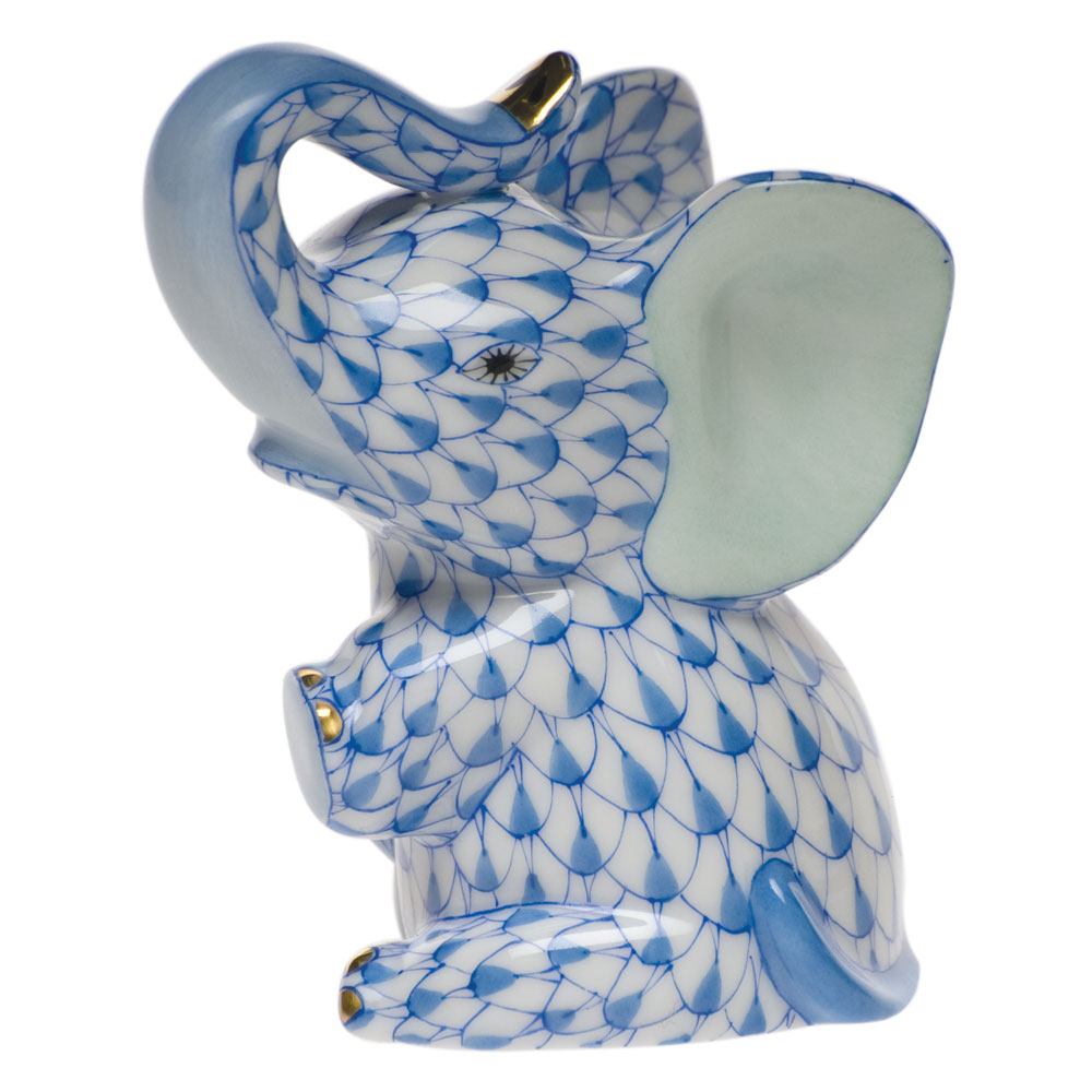 Herend Blue Fishnet Figurine Baby Elephant 3 Quot H