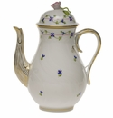"""Herend Blue Garland Coffee Pot With Rose  (60 Oz) 10"""""""