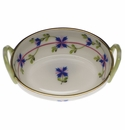 """Herend Blue Garland Small Basket With Handles 2.75""""L"""