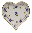 """Herend Blue Garland Small Heart Tray  4""""L X 4""""W"""