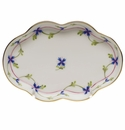 """Herend Blue Garland Small Scalloped Tray  5.5""""L"""