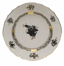 """Herend Chinese Bouquet Black Bread & Butter Plate 6""""D"""