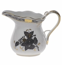 """Herend Chinese Bouquet Black Creamer (6 Oz) 3.5""""H"""