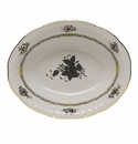 """Herend Chinese Bouquet Black Oval Vegetable Dish 10""""L X 8""""W"""