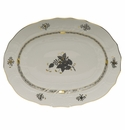 """Herend Chinese Bouquet Black Platter 17""""L X 12.5""""W"""