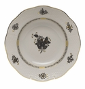 """Herend Chinese Bouquet Black Rim Soup Plate 8""""D"""