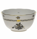 """Herend Chinese Bouquet Black Round Bowl (3.5 Pt) 7.5""""D"""