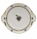 """Herend Chinese Bouquet Black Round Tray With Handles 11.25""""D"""