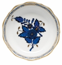 """Herend Chinese Bouquet Black Sapphire Mini Scalloped Dish 3.25""""L X 0"""
