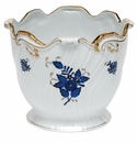 """Herend Chinese Bouquet Black Sapphire Ribbed Cachepot 6.25""""H X 7""""D"""