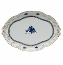 """Herend Chinese Bouquet Black Sapphire Ribbon Tray 15.75""""L X 11""""W"""