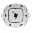 """Herend Chinese Bouquet Black Sapphire Square Cake Plate With Handles 9"""""""
