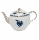 """Herend Chinese Bouquet Black Sapphire Tea Pot With Rose (36 Oz) 5.5""""H"""