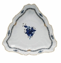 """Herend Chinese Bouquet Black Sapphire Triangle Dish 9.5""""L"""