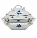 Herend Chinese Bouquet Black Sapphire Tureen With Branch Handles (4 Qt)