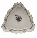 """Herend Chinese Bouquet Black Triangle Dish 9.5""""L"""