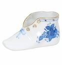 """Herend Chinese Bouquet Blue Baby Shoe  4.5""""L X 2.75""""H"""