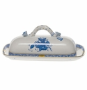 """Herend Chinese Bouquet Blue Butter Dish With Branch  8.5""""L"""