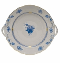 """Herend Chinese Bouquet Blue Chop Plate With Handles  12""""D"""