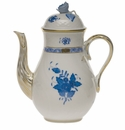 Herend Chinese Bouquet Blue Coffee Pot With Rose  (36 Oz) 8.5