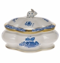 """Herend Chinese Bouquet Blue Covered Bonbon With Bunny  5""""L X 4""""H"""