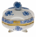 """Herend Chinese Bouquet Blue Covered Bonbon With Rose  3""""Sq"""