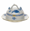 """Herend Chinese Bouquet Blue Covered Butter Dish  6""""D 3.5""""H"""