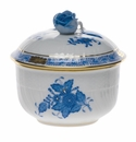 """Herend Chinese Bouquet Blue Covered Sugar With Rose  (4 Oz) 3.25"""""""
