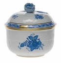 """Herend Chinese Bouquet Blue Covered Sugar With Rose  (6 Oz) 4""""H"""