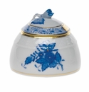 """Herend Chinese Bouquet Blue Honey Pot With Rose  2.5""""H"""