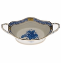 """Herend Chinese Bouquet Blue Large Basket With Handles 6.75""""L"""