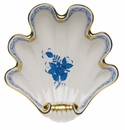 """Herend Chinese Bouquet Blue Large Shell Dish 9""""L X 8.75""""W"""