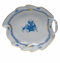 """Herend Chinese Bouquet Blue Leaf Dish  7.75""""L"""