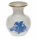 """Herend Chinese Bouquet Blue Medium Bud Vase With Lip 2.75""""H"""